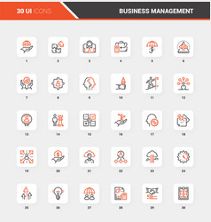 business management flat line web icon concepts vector image