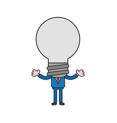 businessman character with light bulb head color vector image