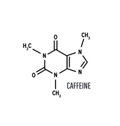 Caffeine structural chemical formula on white vector