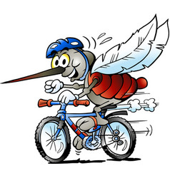Cartoon a happy mosquito on a bike vector