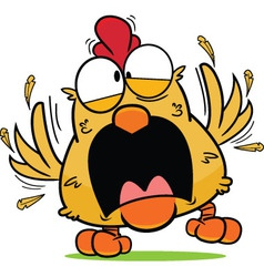 Cartoon Frantic Brown Chicken vector image