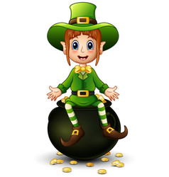cartoon girl leprechaun presenting with a pot of g vector image