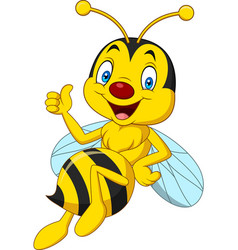 Cartoon happy bee giving thumbs up vector
