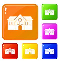 Chapel icons set color vector