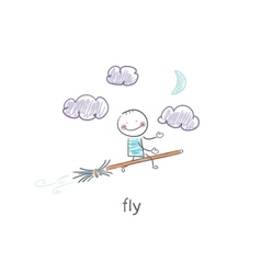 Child flying on broomstick vector