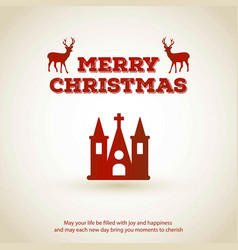 christmas greeting card with light background red vector image