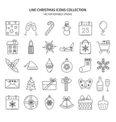 Christmas icons set in thin line style vector