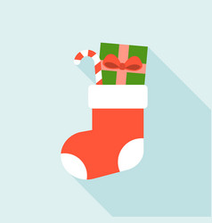 christmas sock and present box vector image