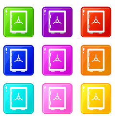 Closed safe icons 9 set vector