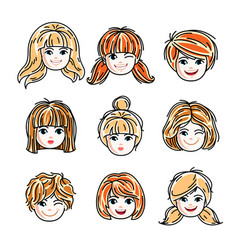 collection of cute smiling girls faces expressing vector image