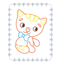 coloring book of cute red pet cat vector image