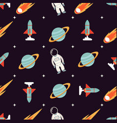 cosmic pattern with spaceman rocket planet vector image