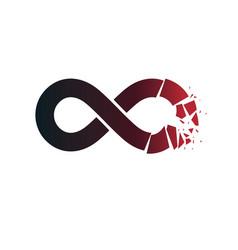 crashed infinity loop symbol conceptual logo vector image