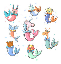 cute animals with mermaid tails collection vector image