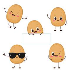 Cute happy potato character set vector