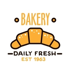 Daily fresh bakery shop icon with linear croissant vector