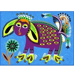 decorative ethnic folk animals in Ukrainian vector image