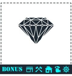 Diamond icon flat vector