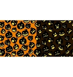 Double Halloween card with pumpkins vector image