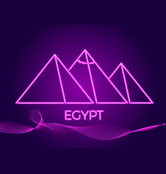 egyptian pyramids of neon icon in the style vector image