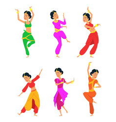 female indian dancers cartoon characters vector image