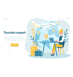 Female travel agent in office vector