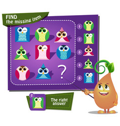 Find the missing owl figures vector