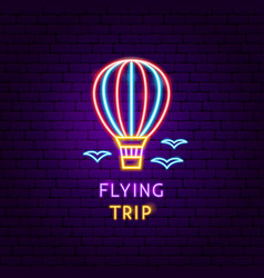 flying trip neon label vector image