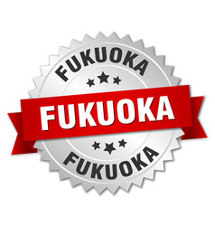 fukuoka round silver badge with red ribbon vector image