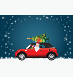 Funny santa claus is driving a red car with tree vector
