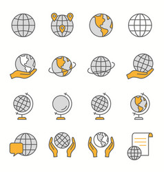 Globe flat line icon set vector