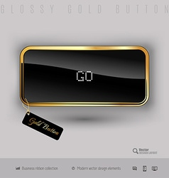 Gold button with black glossy inside vector image