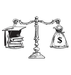Graduation cap books and sack of dollars on scales vector