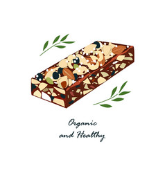 Granola bar with nats and dried fruits isolated vector