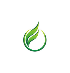 green leaf organic round business logo vector image