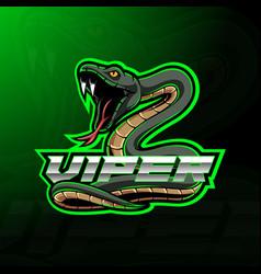 green viper snake mascot logo design vector image