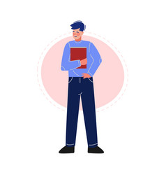 guy standing with a book male college or vector image