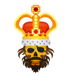 Hairy pirate skull in the royal crown tattoo gold vector