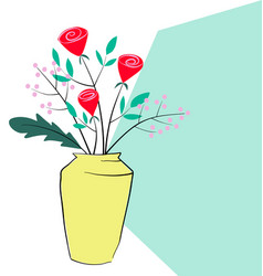 hand drawn roses and flower decorate vector image