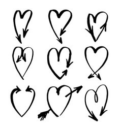 handdrawn arrows set drawn by brush vector image