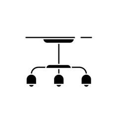 Hanging lamp black glyph icon vector