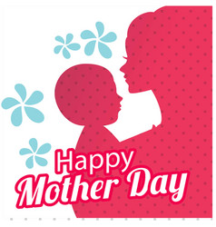 happy womens day mom hold son red shadow white bac vector image