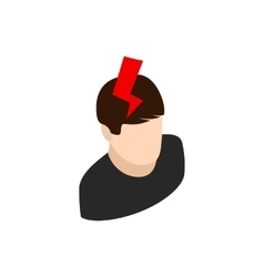 Head with lightning icon isometric 3d style vector