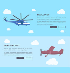helicopter and light aircraft set banners vector image