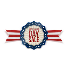 independence day sale emblem with ribbon vector image