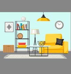 Interior living room furniture and home decor vector