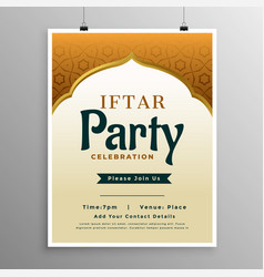 Islamic banner design with iftar party invitation vector