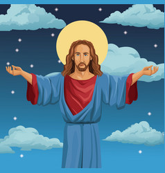 Jesus christ religious blessed night background vector