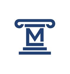 Law pillar initial m lettermark symbol graphic vector