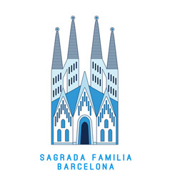 Line art sagrada familia barcelona famous spain vector